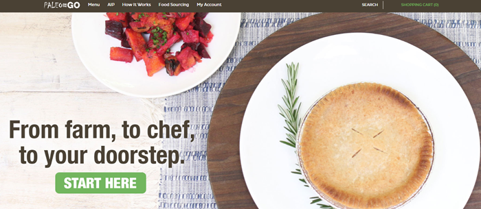 Paleo on the Go website screenshot showing two plates of food, one with a salad and the other with a pie.
