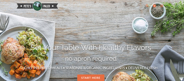 Pete's Paleo website screenshot showing two meals on a gray wooden table.