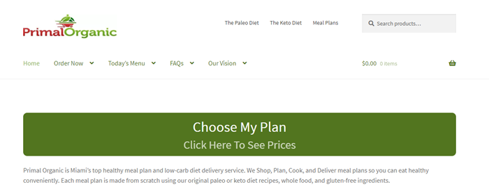 Primal Organic website screenshot showing a large green button that allows users to choose their plan.