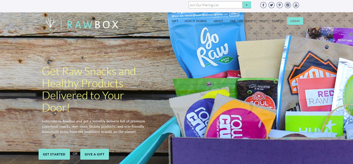 RawBox website screenshot showing a wooden background and an open box from the company.