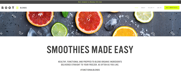 Root Blends website screenshot showing various pieces of sliced fruit against a gray background.