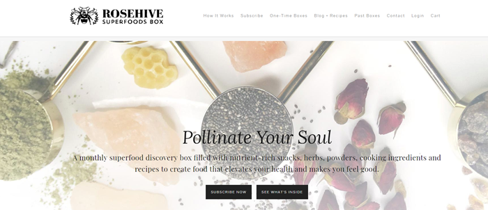 Rosehive Superfoods Box website screenshot showing background images of superfoods like matcha powder, rose hips and chia seeds.