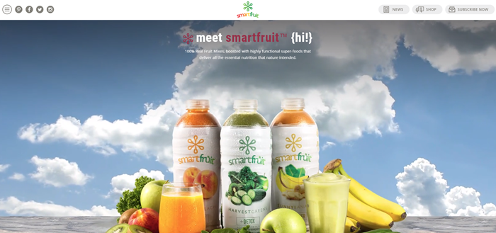 Smartfruit website screenshot showing three of the bottled juices from the company against a blue sky and cloud backdrop.