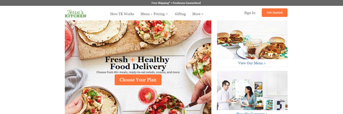 Terra's Kitchen website screenshot showing a family making pitas, along with another image of burgers and one of a couple cooking.