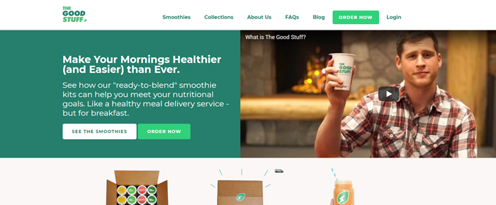 The Good Stuff website screenshot showing a man in a plaid shirt holding up a smoothie cup.