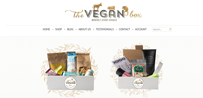 The Vegan Box website screenshot featuring two different boxes from the company, one that contains snacks and the other that contains beauty products.