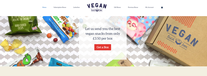 Vegan Tuck Box website screenshot showing various products and a box against a gray and white background.