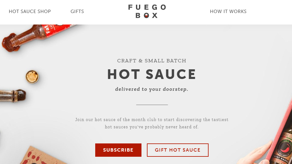 Website screenshot for the Fuego Hot Sauce Club