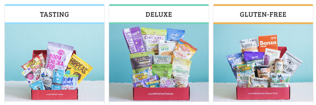 three options for love with food subscription box including a gluten free option
