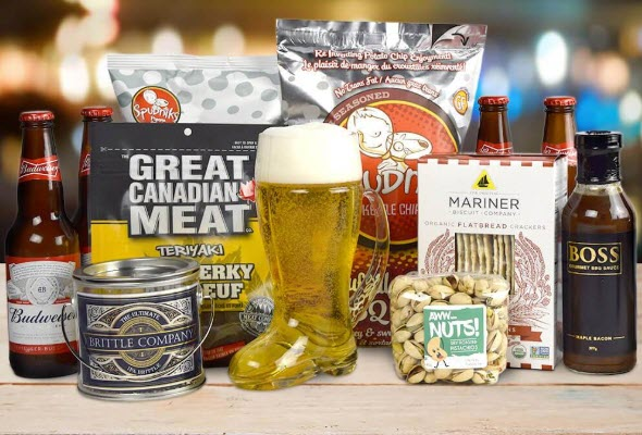 A selection of different beers and sauces, along with a boot glass that is filled with beer.