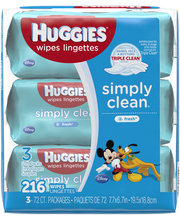 Huggies® Simply Clean® Fresh Scented Baby Wipes 3-72 ct Soft ...