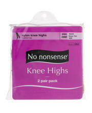 No nonsense Nylon Knee Highs Size One Nude Sheer Toe - 2 PR