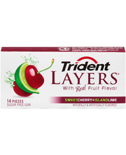 Trident Layers Sweet Cherry + Island Lime Sugar Free Gum 14 P...