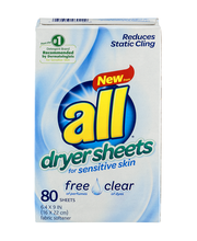 all® free clear Dryer Sheets for Sensitive Skin 80 ct. Box