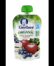 Gerber Organic 2nd Foods Baby Food, Apples, Blueberries & Spi...