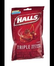 Halls Cherry Cough Suppressant/Oral Anesthetic Menthol Drops ...