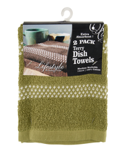 Lifestyles By Royal Crest Terry Olive Dish Towels