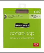 No nonsense Control Top Pantyhose Size B Tan Reinforced Toe -...