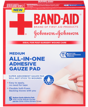 """Band-Aid® Medium All-In-One 3.5"""" x 4.5"""" Adhesive Gauze Pad 5 ..."""
