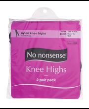 No nonsense Nylon Knee Highs Off Black Sheer Toe - 2 PR
