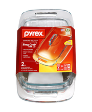 Pyrex Easy Grab with Lid 2QT Casserole Glass Bakeware - 2 PC