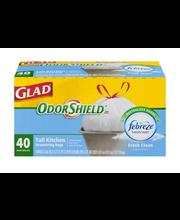 Glad OdorShield Tall Kitchen Drawstring Bags Fresh Clean - 40 CT