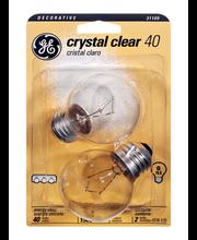 GE Crystal Clear Decorative 40 Watt G Medium Base Light Bulb