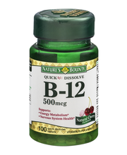 Nature's Bounty Quick Dissolve B-12 500mcg Tablets Natural Ch...