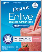 Ensure® Enlive® Strawberry Nutrition Shake 4-8 fl. oz. Bottles