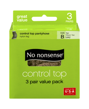 No nonsense Control Top Pantyhose Size B Tan Sheer Toe - 3 PR