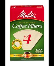 Melitta® Super Premium Size #4 Natural Brown Cone Coffee Filt...