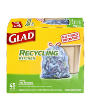 Glad Recycling 13 GAL Tall Kitchen Drawstring Bags Blue - 45 CT