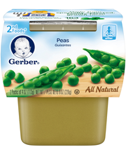 Gerber 2nd Foods Peas, 4 Ounce Tubs, 2 Count