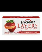 Trident Layers Strawberry + Citrus Sugar Free Gum 14 Piece Pack