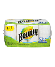 Bounty Paper Towels, White, 8 Giant Rolls