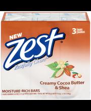 Zest® Creamy Cocoa Butter & Shea Moisture-Rich Soap 3-4 oz. Bars