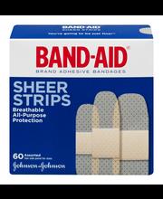 Band-Aid Adhesive Bandages Sheer Strip Assorted - 60 CT