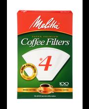 Melitta® Super Premium Size #4 White Cone Coffee Filters 100 ...