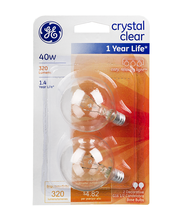 GE Crystal Clear 40W Bulb - 2 CT