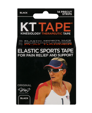KT Tape Kinesiology Therapeutic Tape Precut Strips Black - 14 CT