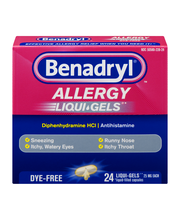 Benadryl® Allergy Liqui-Gels® Dye-Free Softgels 24 ct Box