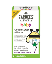 Zarbee's Naturals Baby Cough Syrup + Mucus, Natural Grape Fla...