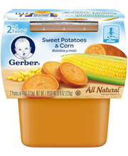 Gerber 2nd Foods Sweet Potatoes and Corn, 4 Ounce Tubs, 2 Count