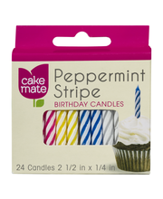 Cake Mate Peppermint Stripe Birthday Candles - 24 CT