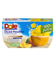 Dole® Yellow Cling Diced Peaches in 100% Fruit Juice 4-4 oz. ...