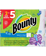 Bounty Select-A-Size Paper Towels, Spring Print, 2 Huge Rolls...