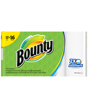 Bounty  Paper Towels, White, 12 Big Rolls = 16 Regular Rolls