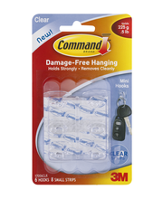 Command Brand Clear Mini Hooks - 6 CT