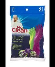 Mr. Clean Duet Premium Latex Gloves Size L - 2 PR