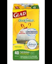 Glad OdorShield 13 GAL Tall Kitchen Drawstring Bags Fresh Lem...